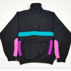Vintage Unisex 80s 90s 1/4 Zip Colorblock Fleece